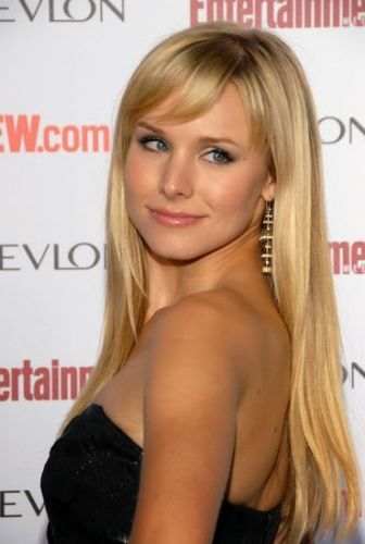 Kristen Bell Long Blonde Straight Hair With Side Swept Bangs Kristen Bell Blonde Hair With Bangs Long Straight Weave Hairstyles