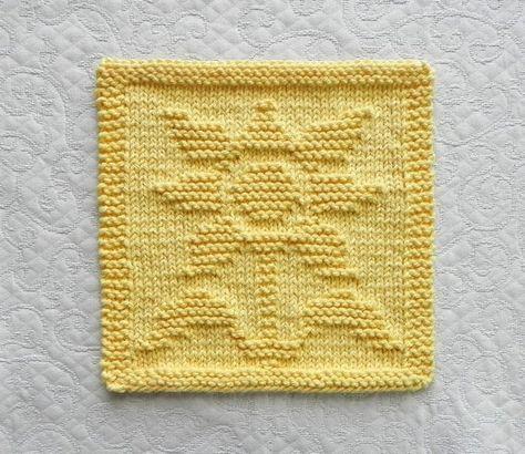 Yellow Sunflower Dish Cloth 8 X8 Hand