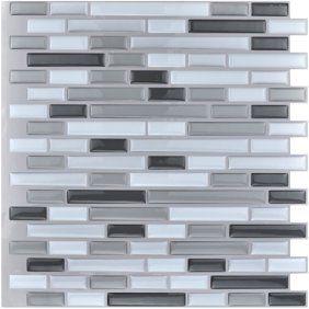 Mosaic Backsplash Tiles Set Of 6 Brown Multi Walmart Com In 2020 Kitchen Backsplash Peel And Stick Stick Tile Backsplash Stick On Tiles