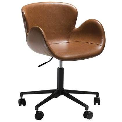 Bureaustoel Bruin Leer.Dan Form Gaia Bureaustoel Lichtbruin Vintage Kunstleer In 2020