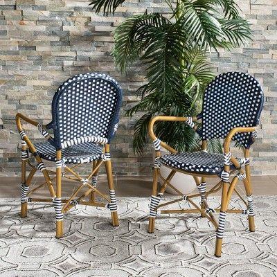 Set Of 2 Hooper Indoor Outdoor Stacking Armchair Navy Safavieh Outdoor Dining Chairs Outdoor Chairs Outdoor Deck Furniture