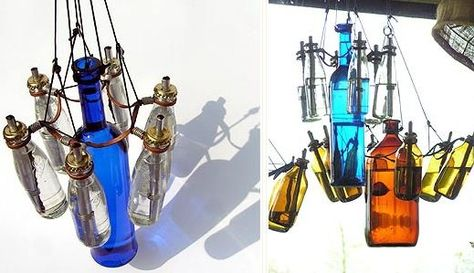 Recycled/repurposed bottles transformed into chandeliers (www.recyclart.org)