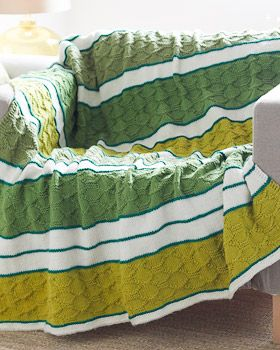 Bernat Super Value - Block Quilt Striped Afghan (free knitting pattern). Beautiful tonal stripes give this afghan contrast and cohesiveness at once, guaranteeing a beautiful addition to home decor.