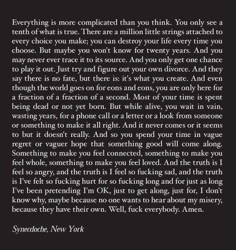 Synecdoche New York Depressing But True Film Quotes Movie