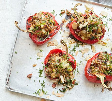 Grain Stuffed Peppers Bbc Good Food Middle East Recipe Bbc Good Food Recipes Stuffed Peppers Vegetarian Recipes