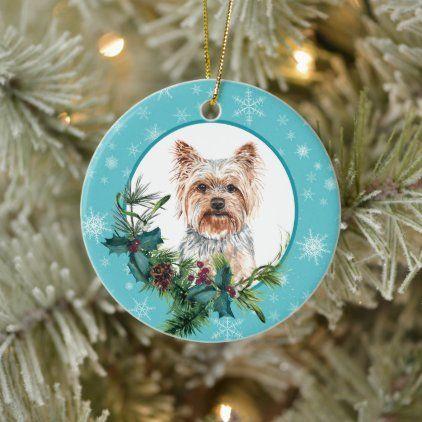 Yorkshire Terrier Evergreen Blue Snowflake Border Ceramic Ornament Zazzle Com In 2020 Ceramic Ornaments Blue Snowflakes Yorkshire Terrier