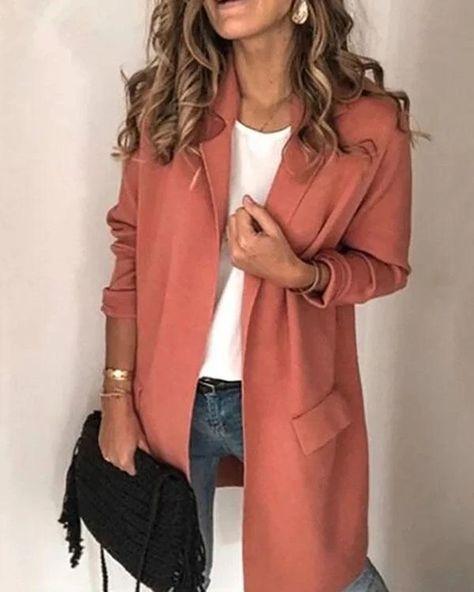 Women Lapel Collar Plus Size Casual Outerwear – Prilly outwear fashion outwear jacket warm coat outfit coats for women #fallcoats#warm#casualcoats