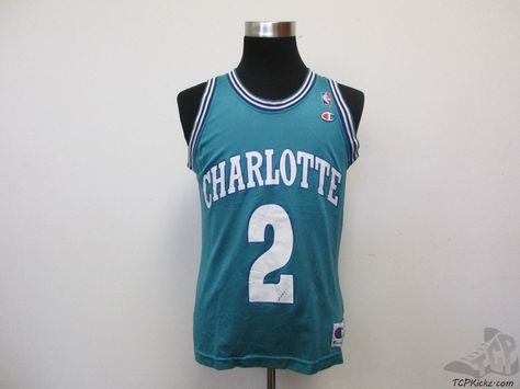 8ed1690a7d3 Vtg 90s Champion Charlotte Hornets Larry Johnson #2 Jersey sz 40 Grandmama  NBA #Champion #CharlotteHornets #tcpkickz