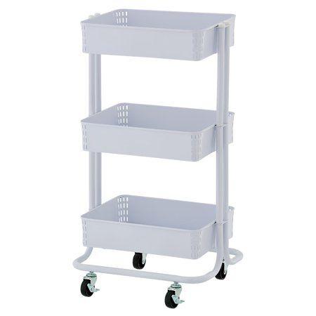 Unbranded 3 Tier Metal Craft Storage Cart White Walmart Com Craft Storage Cart Craft Cart Storage Cart