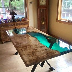 Turquoise Resin River Dining Table Resin Table Wood Resin Table