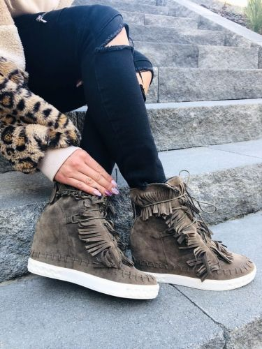 Botki Boho Z Fredzlami Khaki High Top Sneakers Shoes Top Sneakers