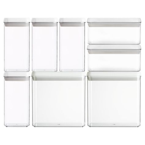 Felli Flip Tite Square And Rectangle Acrylic 8pc Canister Set