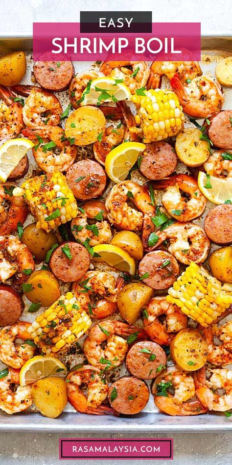 Easy shrimp boil with Old Bay, Cajun seasoning and butter. This shrimp boil recipe is the best with shrimp, baby potatoes, corn and smoked sausage. So delicious | rasamalaysia.com Shrimp And Corn Recipe, Sausage And Shrimp Recipes, Seafood Boil Recipes, Grilled Shrimp Recipes, Corn Recipes, Salmon Recipes, Fish Recipes, Dinner Recipes, Shrimp Boil Recipe Old Bay