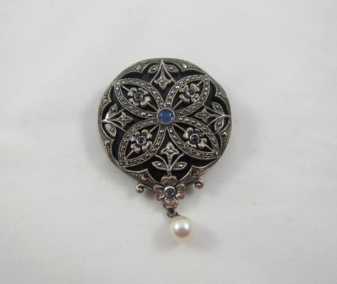 Amethyst Vintage Sterling Silver Marcasite and Black Onyx BroochPin