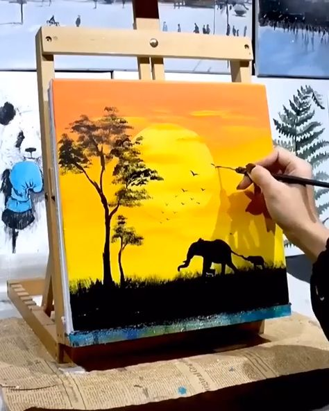 Diy canvas art 377035800057710449 - It's a fun and easy way to make your own custom wall art. And, it's so cheap. Here are the DIY landscape paint step by step, products used, and full videos to help you make your own Source by Easy Canvas Art, Simple Canvas Paintings, Small Canvas Art, Diy Canvas, Easy Wall Art, Cute Easy Paintings, Amazing Paintings, Small Art, Indian Paintings