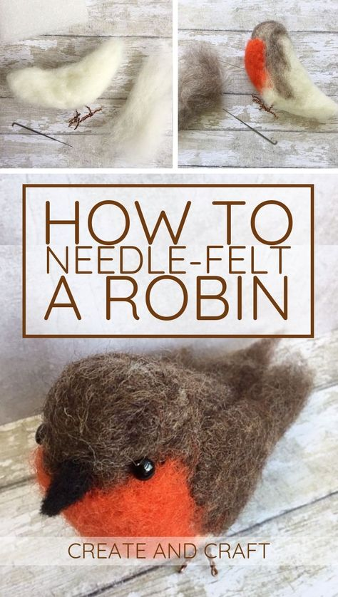 Needle Felting Robin Tutorial Check out our step-by-step needle f. - Needle Felting Robin Tutorial Check out our step-by-step needle felting tutorial, an - Needle Felting Kits, Needle Felting Tutorials, Needle Felted Animals, Wet Felting Projects, Felt Projects, Nuno Felting, Felted Wool Crafts, Needle Felted Ornaments, Christmas Needle Felting