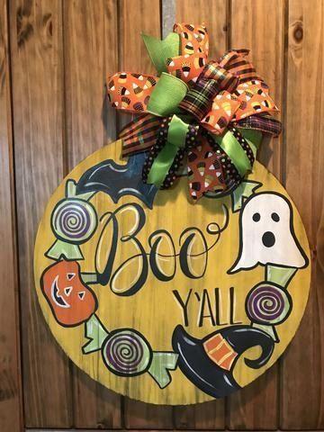 Boo Y All Door Hanger 1000 In 2020 Halloween Door Hangers Halloween Door Decorations Door Wreath Hanger