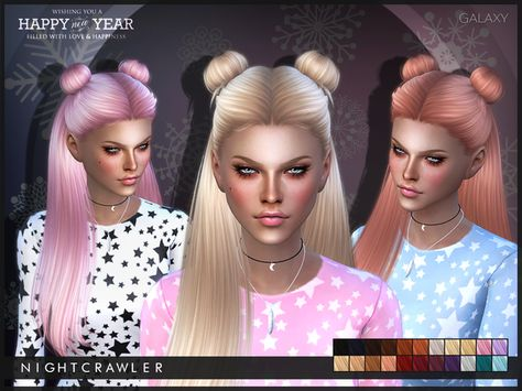 The Sims Resource: Nightcrawler-Galaxy hairstyle • Sims 4 Downloads