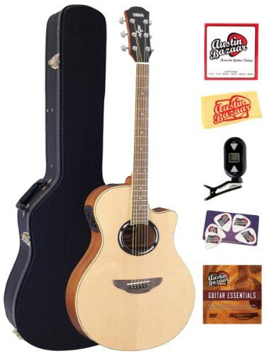 Yamaha Apx500iii Thinline Cutaway Acousticelectric Guitar Bundle With Hard Case Tuner Instructional Dvd Strings P Yamaha Guitar Acoustic Electric Guitar Guitar