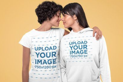 Download Placeit Mockup Of A Romantic Couple Wearing A T Shirt And A Hoodie At A Studio Clothing Mockup Romantic Couples How To Wear