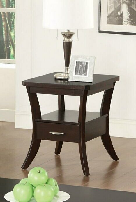 702507 Wildon Espresso Finish Wood End Table With Drawer End