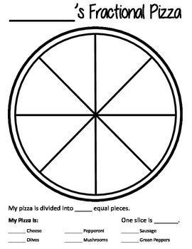 Free Vector | Fractions pizza eduation poster