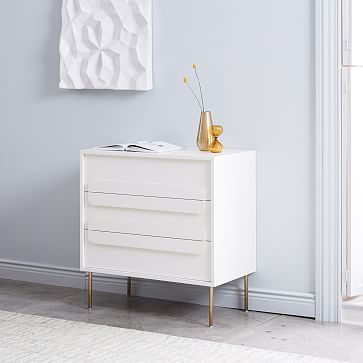 Gemini 3 Drawer Dresser White Lacquer Three Drawer Dresser