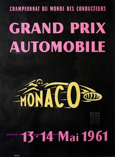 Grand Prix Automobile Monaco 1961 117x153 5 Imp Montecarlo Vintage Racing Poster Monaco Grand Prix Posters Grand Prix Posters