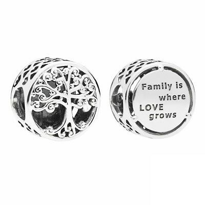Round Shape 925 Sterling Silver Family Is Where Love Grows Bead Pandora Charm In 2020 Pandora Family Pandora Bracelet Charms Pandora Charms