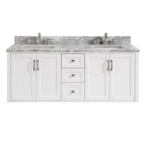 Shop Allen Roth Floating 60 In White Double Sink Bathroom Vanity