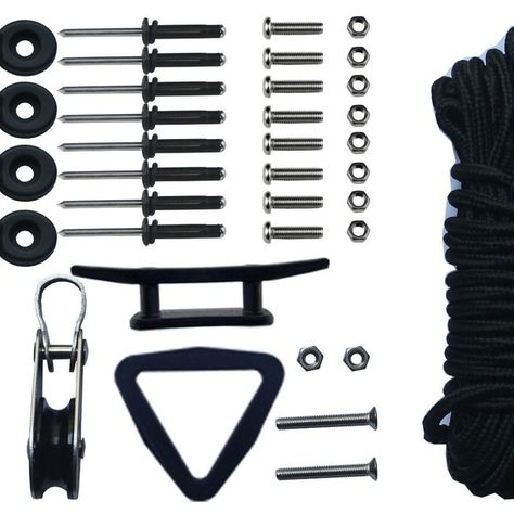 Kayak Canoe Anchor Trolley Kit System Pulley Cleat Pad Eye Rings Screws