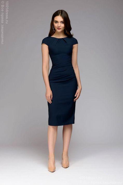 c9f77207841 Купить платье-футляр синего цвета недорого в интернет-магазине 1001DRESS