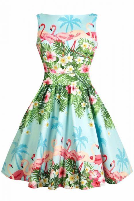 Sky Blue Dress Pink Flamingo Dress Summer Pinup Dress Vintage Dress Rockabilly Dress Party Dress Halter Dress 50s Swing Dress Retro Dress