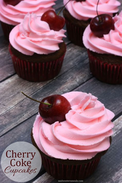 The soda gives the cupcakes a slight cherry flavor while enhancing the chocolate. Top with cherry buttercream frosting & a fresh cherry! Coke Cupcakes, Chocolate Cupcakes, Gourmet Cupcake Recipes, Mocha Cupcakes, Strawberry Cupcakes, Easter Cupcakes, Flower Cupcakes, Christmas Cupcakes, Summer Cupcakes