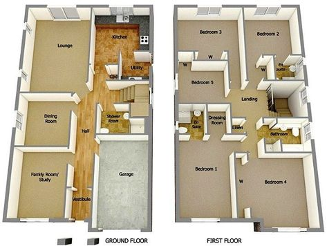 contoh gambar denah rumah minimalis 2 lantai 3d | denah