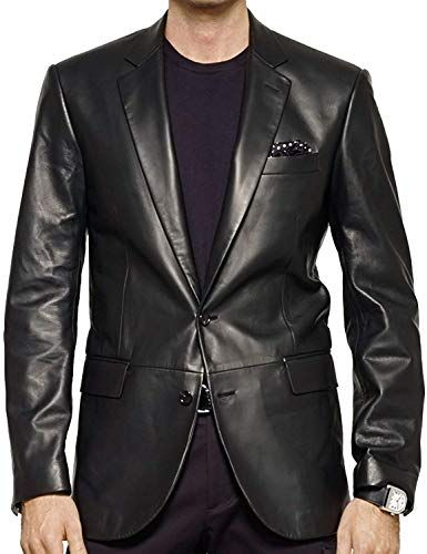 Leather N Leather Genuine Lambskin Leather Sport Blazer Jacket Coat 3 Button
