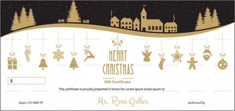 Download Golden Black Christmas Gift Certificate Template (#948B) MS WORD in Microsoft Word (DOC). Golden Black Christmas Gift Certificate Template (#948B) MS WORD is designed by expert designers and is completely customizable. Download, Edit  Print.