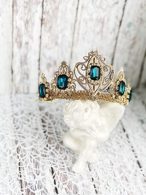 Excited to share the latest addition to my shop: Tiara Headband Crown Bridal Wedding Gold Deep Blue Tiaras for Wedding Headpiece Crystal Queen Medieval Birthday crown adult Raw Party Dolce Crown Aesthetic, Princess Aesthetic, Queen Aesthetic, Circlet, Crown Headband, Bridal Crown, Tiaras And Crowns, Wedding Gold, Wedding Crowns