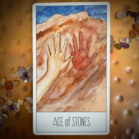 The Ace of Stones indicates a new beginning of material nature. Whether a financial gift, a new career opportunity or a new start health-wise, the Ace is a sign that something in the concrete realm of your life is going to receive a boost. Stones are aligned with the feminine suit of earth and represent all the fertility that relates to the living earth. This new start is a divine gift from the universe to you. #sparktarot #aceofstones #tarotcardmeanings sparktarot.com/