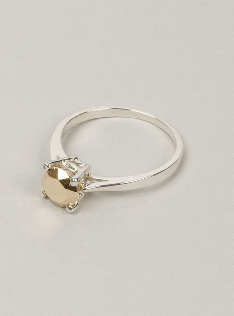 """Fake Diamond"" Ring. Gold gem is a pun on the classic engagement ring. Love it!"
