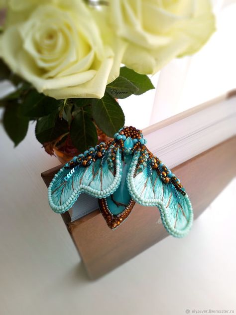 Beaded Embroidered Butterfly turquoise Brooch – shop online on Livemaster with shipping #beadedjewelry