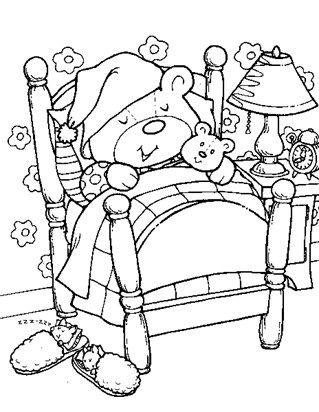Sleeping Teddy Bear Coloring Page With Images Teddy Bear