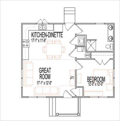 Single Story Open Floor Plans 1 Bedroom House Plans House Floor Plans One Bedroom House Plans
