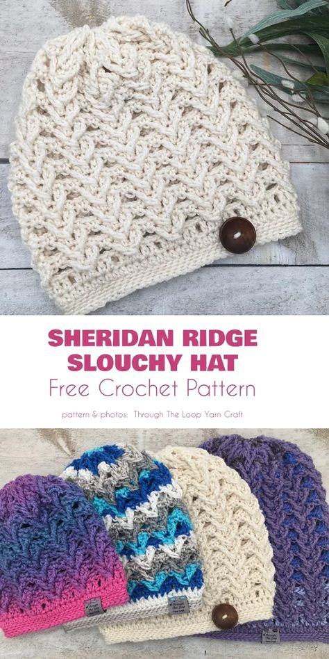 crochet hats Spring may be springing, but it's still not warm enough to full summer. Hat's are generally necessary, certainly early in the morning or the evening. Crochet Boot Cuffs, Crochet Slouchy Hat, Crochet Beanie Pattern, Crochet Winter Hats, Crochet Baby Hats, Crocheted Hats, Crochet Crafts, Crochet Projects, Yarn Crafts