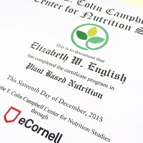 Completed Certificate Course In Plant-Based Nutrition from The T ...