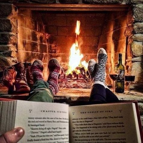 Fireplace and a good book with people who mean the most to you.