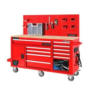 Frontier 62 In 10 Drawer Tool Chest Cabinet With Pegboard Back Wall Heavy Duty Mobile Workbench In Red Xtb6210r The Home Depot Mobile Workbench Tool Chest Workbench