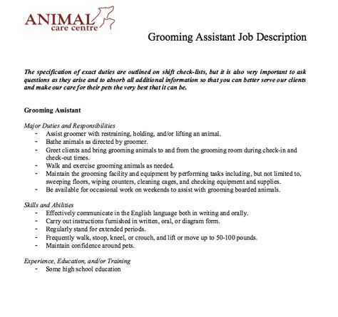 Grooming Assistant Job Description - Http://Resumesdesign.Com