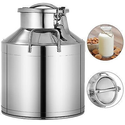 Sponsored Ebay New Stainless Steel Milk Can With Lid 10l Capacity Milk Cans Stainless Steel Containers Pail Bucket