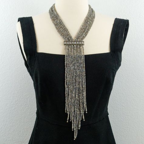Mystic Labradorite and Pave Diamonds Rainbow Moonstone Bar Fringe Necklace